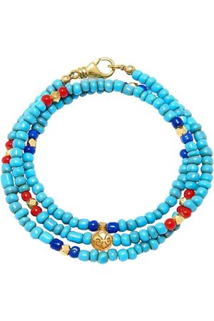 Nialaya Herre Armbånd - The Mykonos Collection - Vintage Turquoise, Red, and Blue Glass Beads