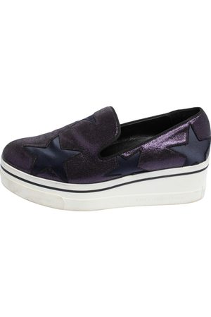 Stella McCartney Faux Suede and Fabric Binx Star Platform Sneakers