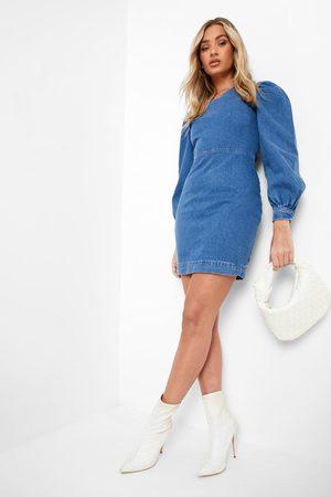 Boohoo Dame Bodycon kjoler - Lace Up Back Balloon Sleeve Denim Dress