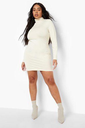 Boohoo Dame Bodycon kjoler - Plus Long Sleeve Roll Neck Mini Bodycon Dress