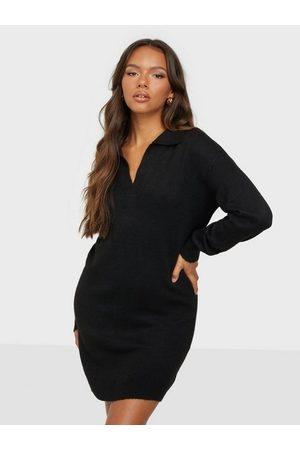 JACQUELINE DE YONG Jdyrue Vega L/S Polo Dress Knt Black