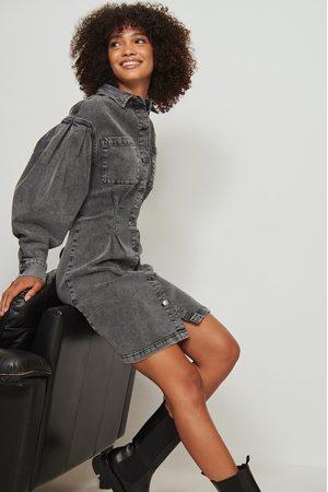 NA-KD Trend Dame Jeanskjoler - Gathered Waist Denim Dress