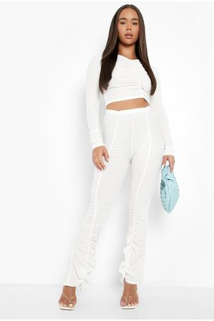 Boohoo Dame Sett - Ribbed Ruched Wide Leg Trouser And Top