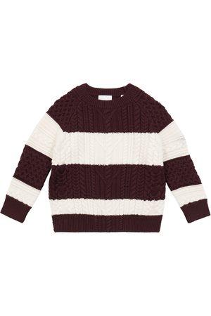 Burberry Gutt Strikkegensere - Striped wool-blend cable-knit sweater