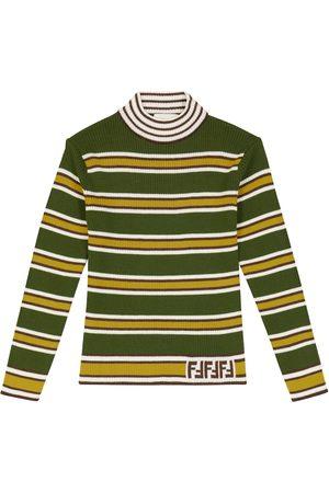 FENDI Kids Striped wool turtleneck sweater