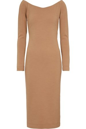 Fendi Off-shoulder wool jersey midi dress