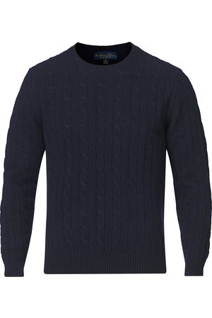Brooks Brothers Lambswool Cable Crew Neck Navy