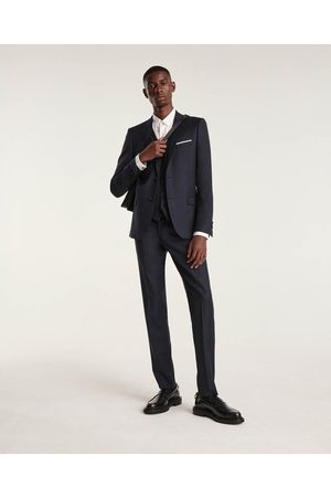 The Kooples Herre Chinos - Fitted blue suit trousers in wool