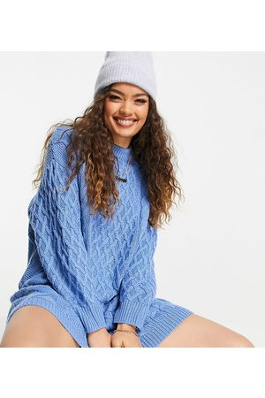 ASOS ASOS DESIGN Petite knitted mini dress in cable knit in blue