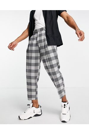 ASOS Balloon suit trousers in grey check