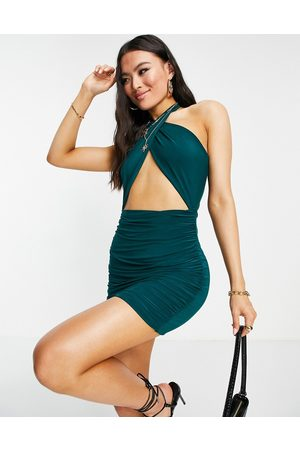 Missyempire Exclusive halterneck cut out ruched mini dress emerald green