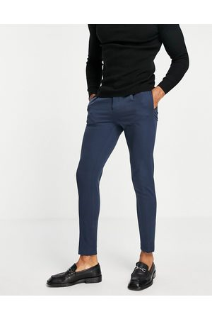 ASOS Tapered smart trousers in navy