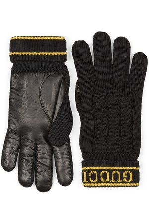 Gucci Wool knit gloves with script