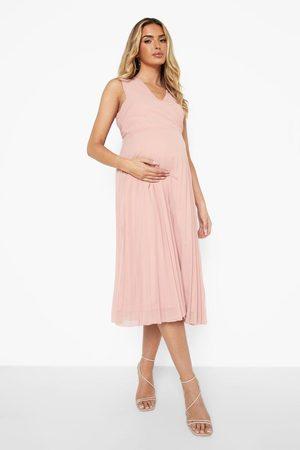 Boohoo Maternity Sleeveless Wrap Pleated Midi Dress