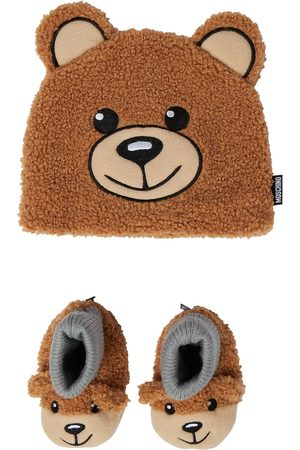 Moschino Baby faux shearling beanie and booties set