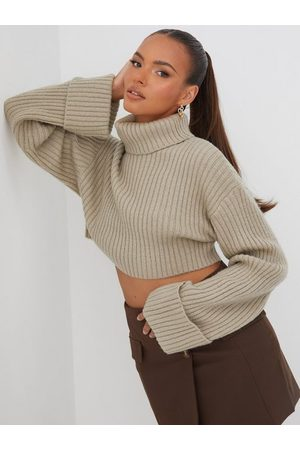 Gina Tricot Dame Pologensere - River knitted sweater Taupe