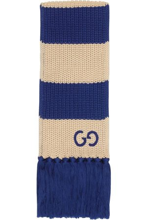 Gucci Thin striped GG-logo knitted scarf