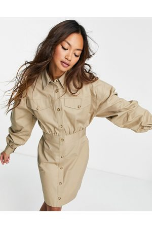ASOS Twill bodycon mini shirt dress with topstitching in brown-Neutral