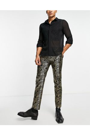 Bolongaro Skinny fit metallic velvet paisley trousers-Black