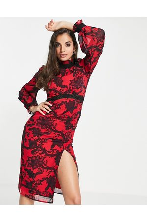 HOPE & IVY High neck contrast lace midi dress in red and black-Multi