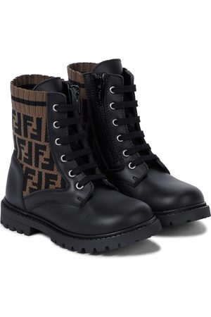 Fendi Baby FF knit and leather combat boots