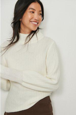 NA-KD Dame Pologensere - Strikket genser med puffskulder og høy hals