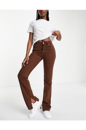 MANGO Straight leg denim jeans with side split in brown