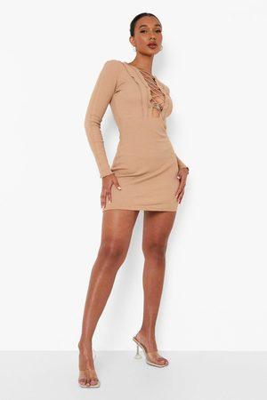 Boohoo Premium Rib Panelled Lace Up Mini Dress