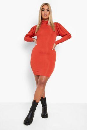 Boohoo Plus Rib Roll Neck Bodycon Dress