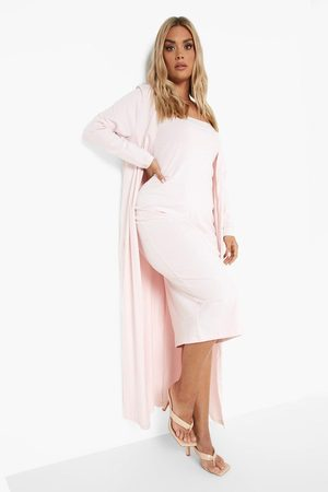 Boohoo Plus Recycled Bandeau Dress And Duster