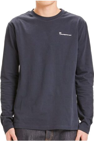 Knowledge Cotton Apparal Locust Trademark Mountain Back Print LS Tee