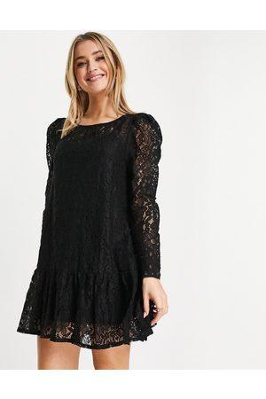 Fashion Union Lace tiered mini smock dress in black