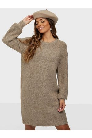 Only Dame Kjoler - Onlzolte L/S Dress Cc Knt Taupe Gray W. Melange