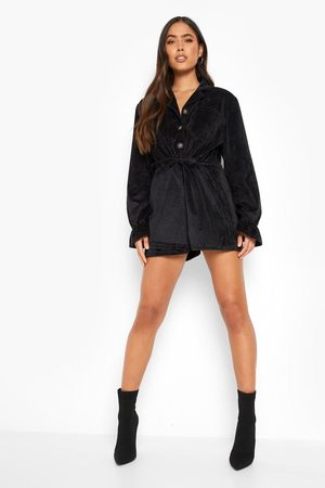 Boohoo Corduroy Oversized Button Down Playsuit
