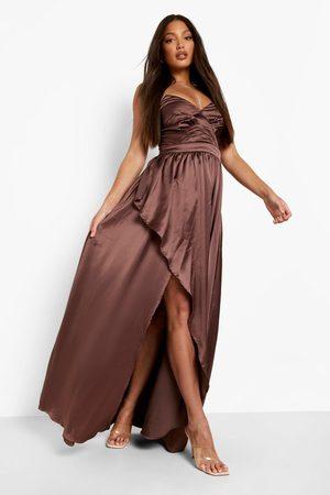 Boohoo Tall Occasion Bandeau Satin Maxi Dress