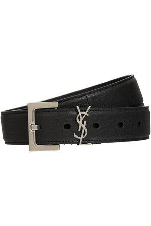 Saint Laurent 3cm Monogram Smooth Leather Belt