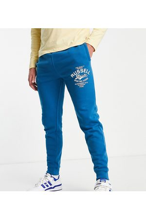 Russell Athletic Plus cuffed joggers in blue-Black
