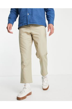 Farah Drop crotch loose fit trousers in stone-Neutral