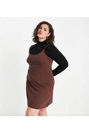 ASOS Curve ASOS DESIGN Curve 2 in 1 mini long sleeve dress with roll neck and slip in brown and black