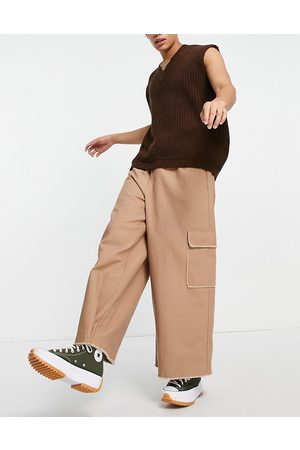 ASOS Loose fit trousers with elasticated waist in stone-Neutral