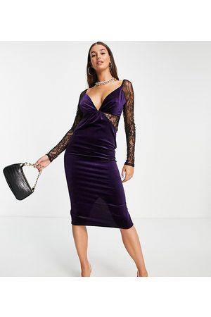 ASOS Dame Bodycon kjoler - ASOS DESIGN Tall lace sleeve velvet bodycon midi dress in purple