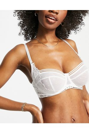 Figleaves Clara spot mesh and lace longline balcony bra in white