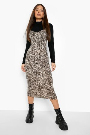 Boohoo Leopard Print Roll Neck Top And Slip Dress