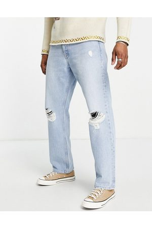 Dr Denim Dash straight jeans in light wash with knee rips-Blue