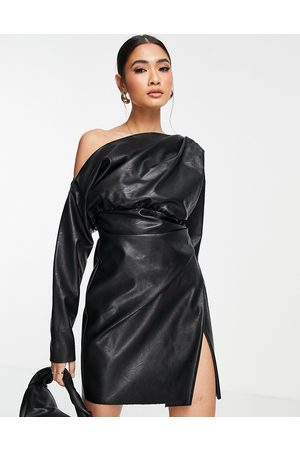 ASOS PU off shoulder mini dress with tuck detail bodice in black