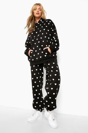 Boohoo All Over Heart Print Tracksuit