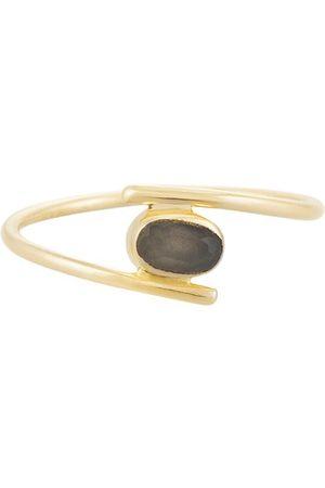 PapayaOslo Golden Elliptical Grey Moonstone Ring