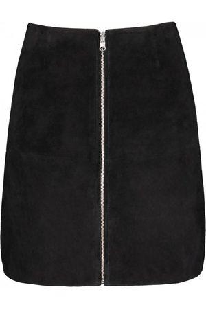 MAUD Sort Leather Skirt Skjørt