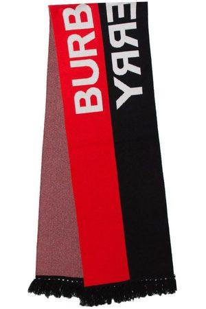 Burberry Brukt Logo Intarsia Knit Cashmere Football Scarf