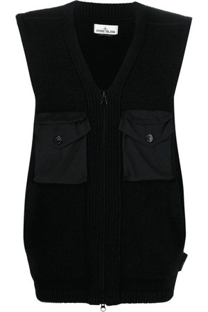 Stone Island V-neck Knit Vest in Lambswool